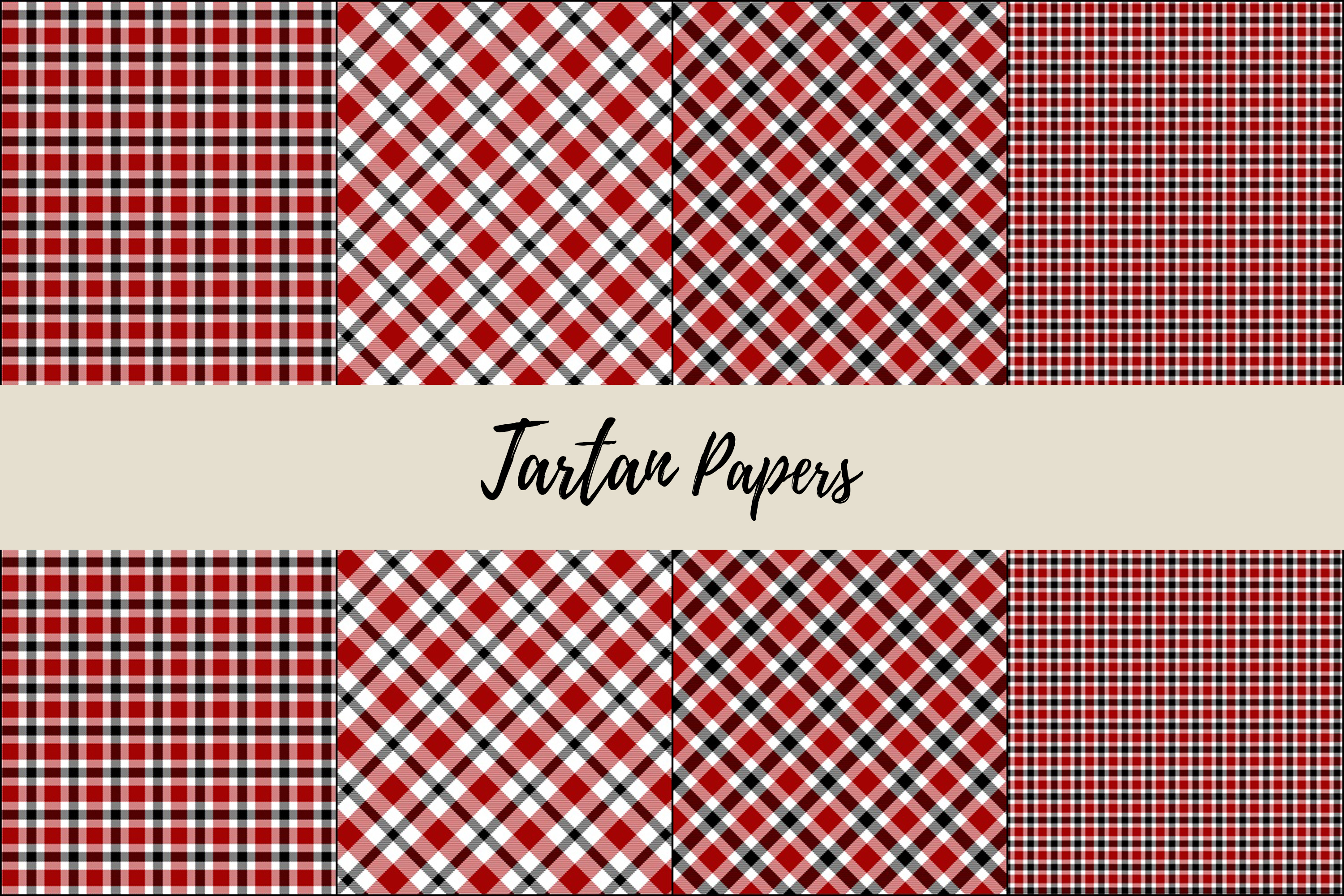 22 Black & Red Tartan Background Papers example image 5