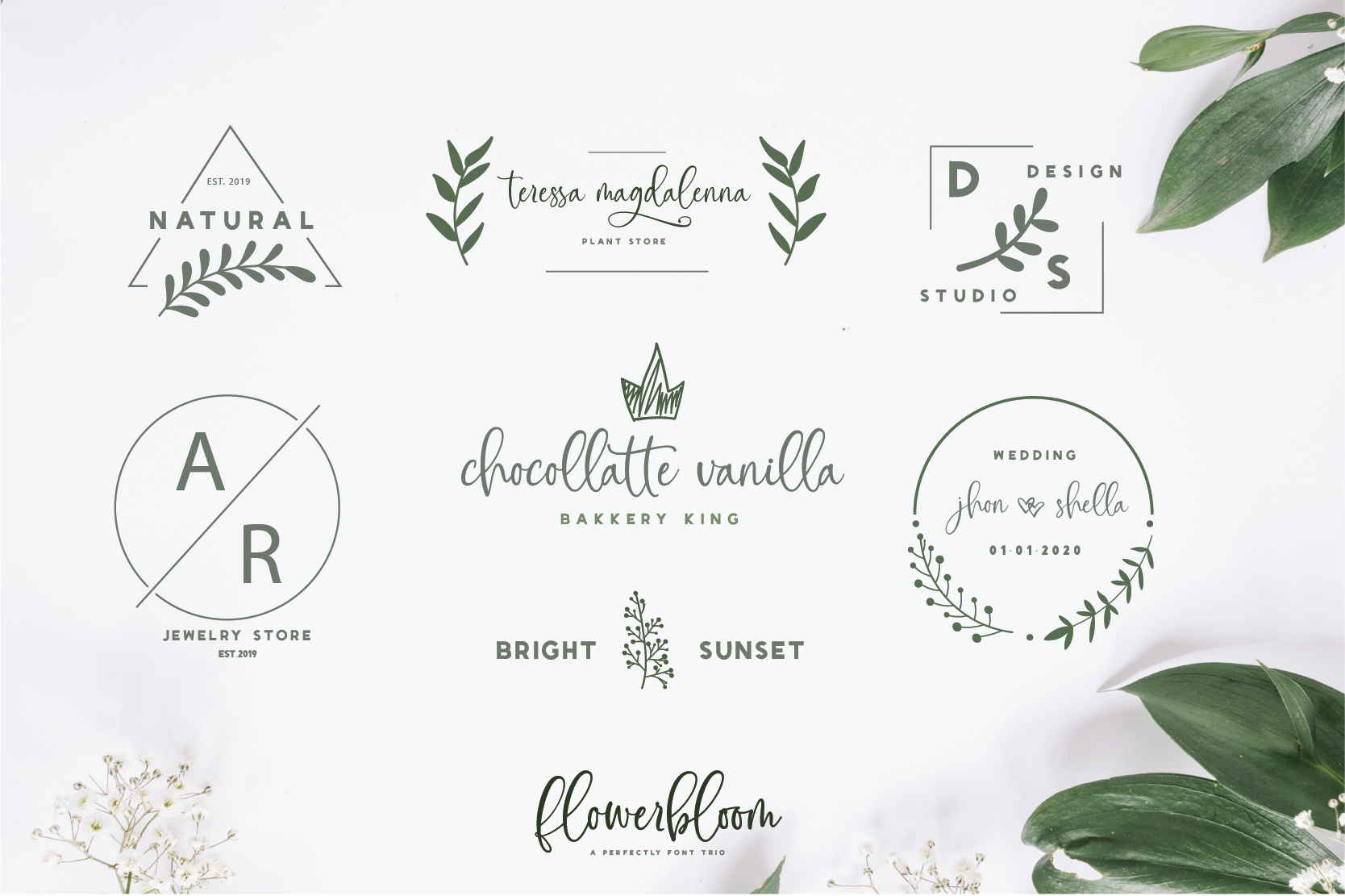 Flowerbloom Font Trio example image 9