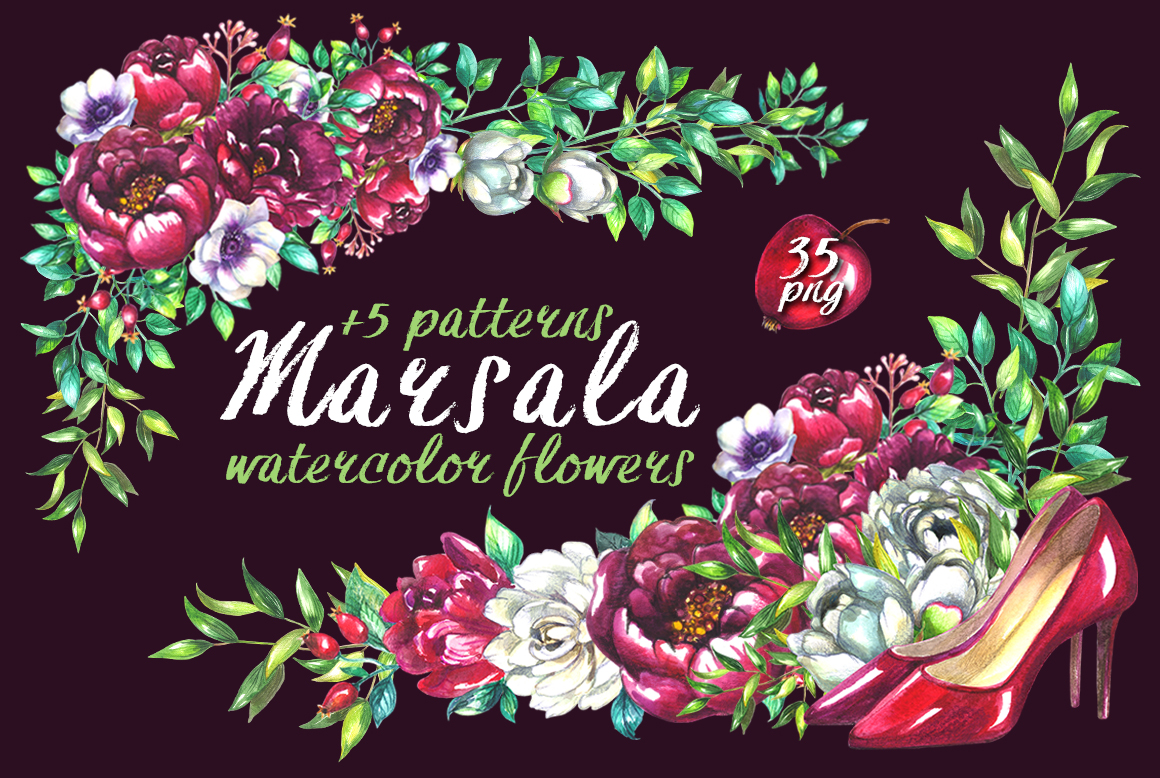 Marsala wedding clipart example image 1