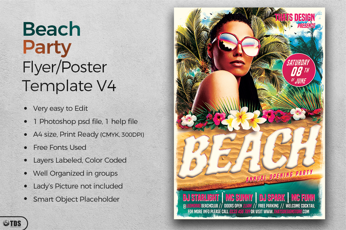 Beach Party Flyer Template V4 example image 2