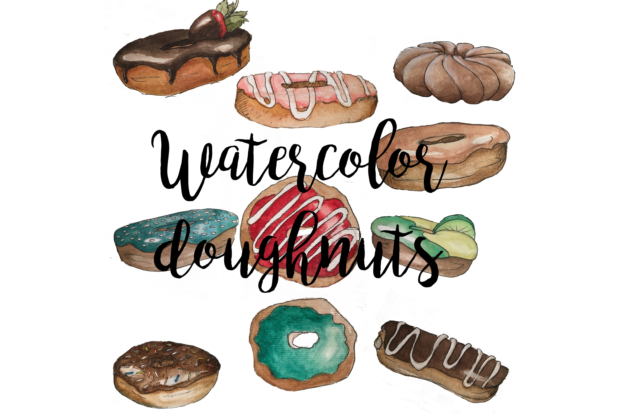 Watercolor Doughnuts example image 2