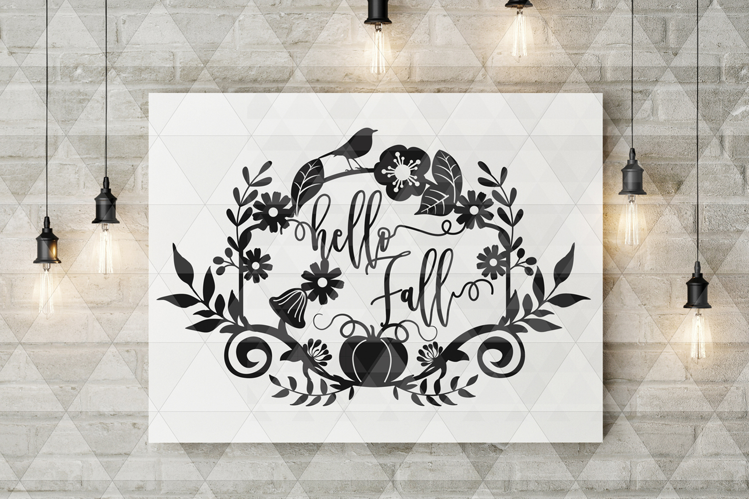 Hello Fall SVG Cutting File, Leaves, Autumn DXF, EPS, PNG example image 5