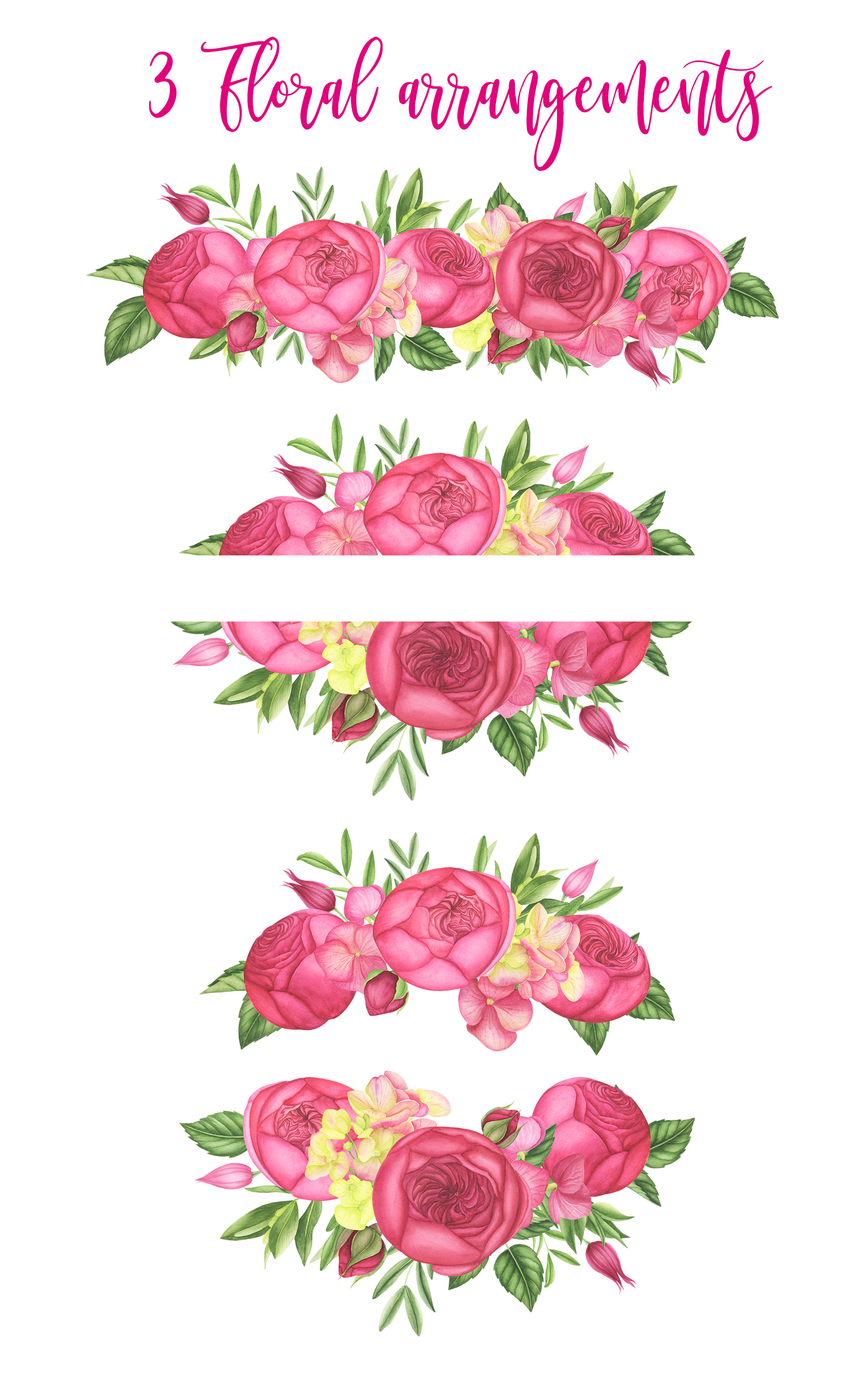 Watercolor Summer flowers clipart example image 2