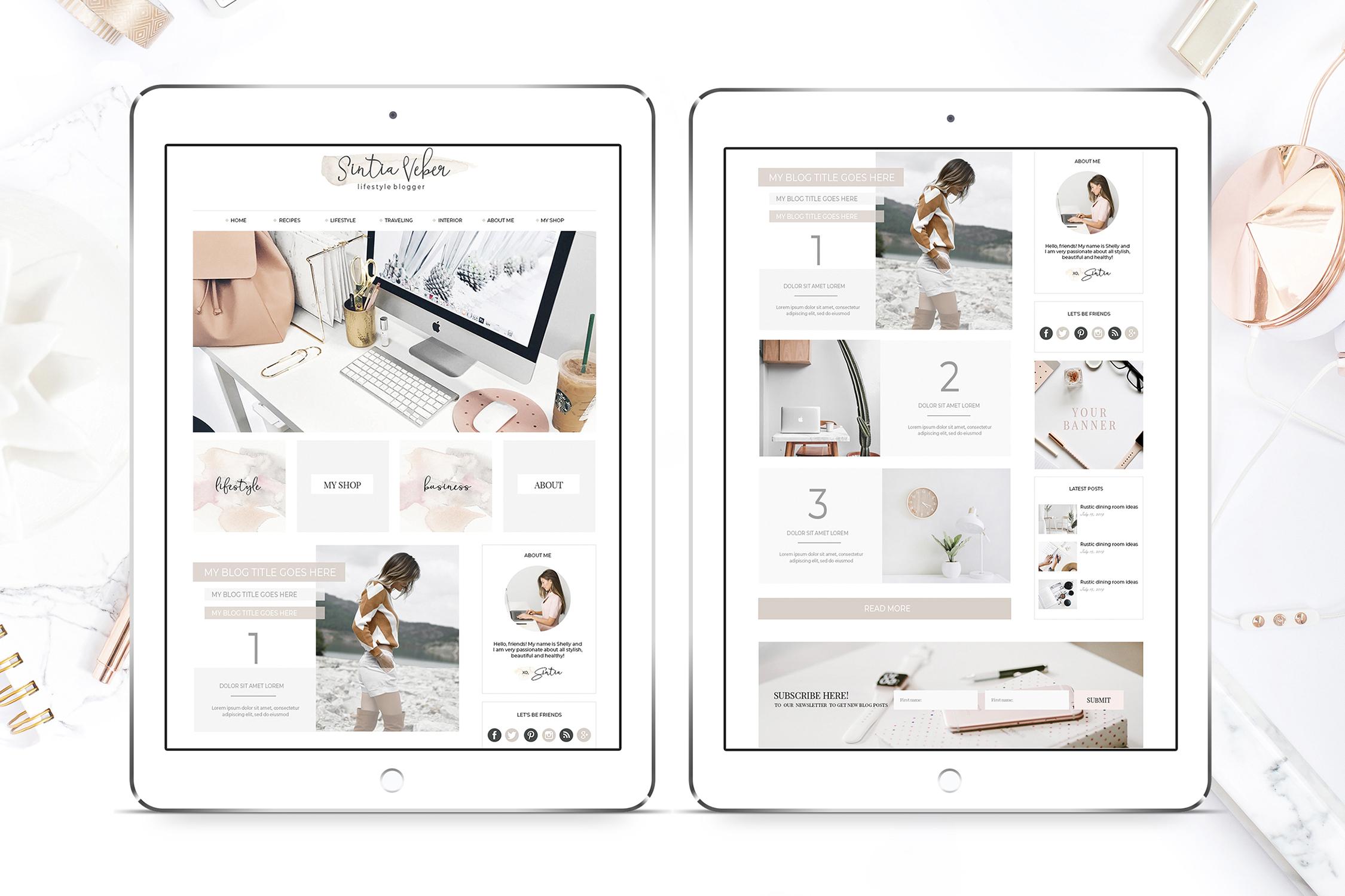 Webdesign Template DIY Blog BEIGE CHIC example image 2