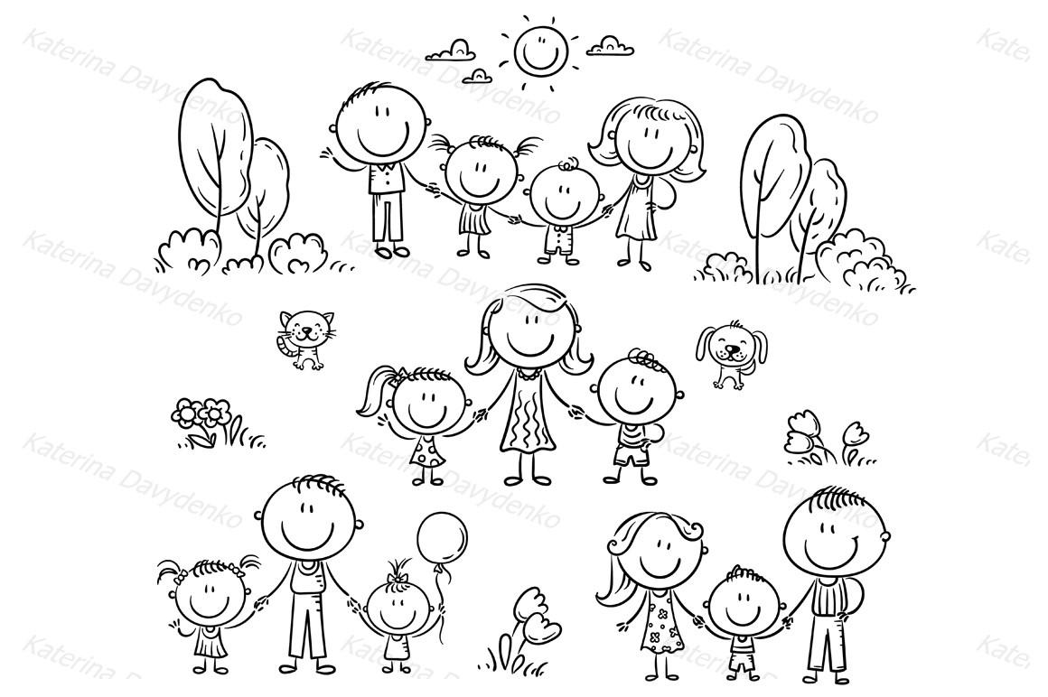Happy doodle families bundle, vector example image 7