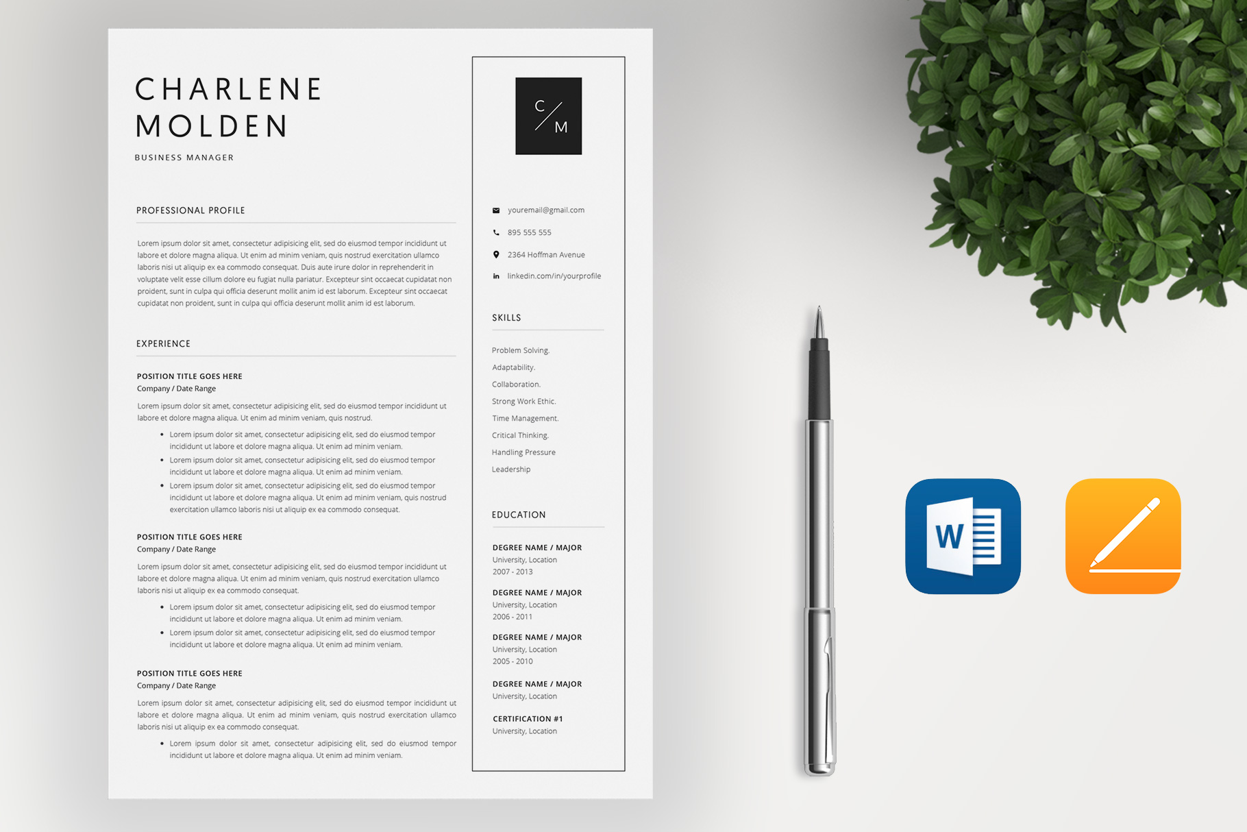 Creative Resume Template   Cover Letter example image 2