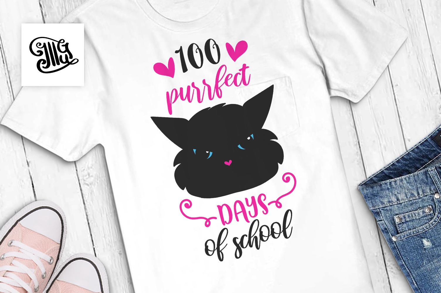 100 days of school for girl and teacher svg with cat example image 1
