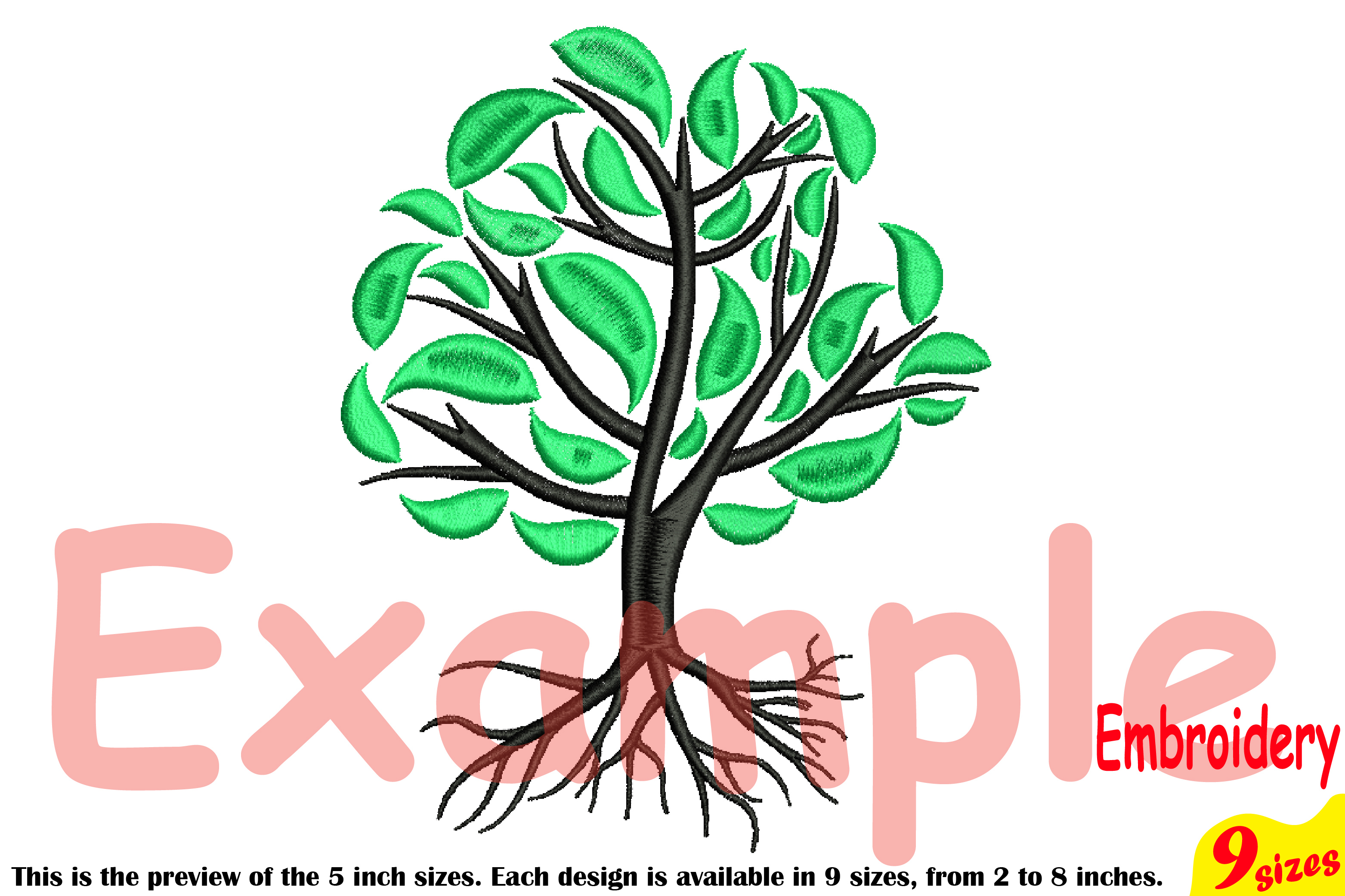 Family Tree Embroidery Design Machine Instant Download Commercial Use digital Outline family love Deep Roots Branches 204b example image 4