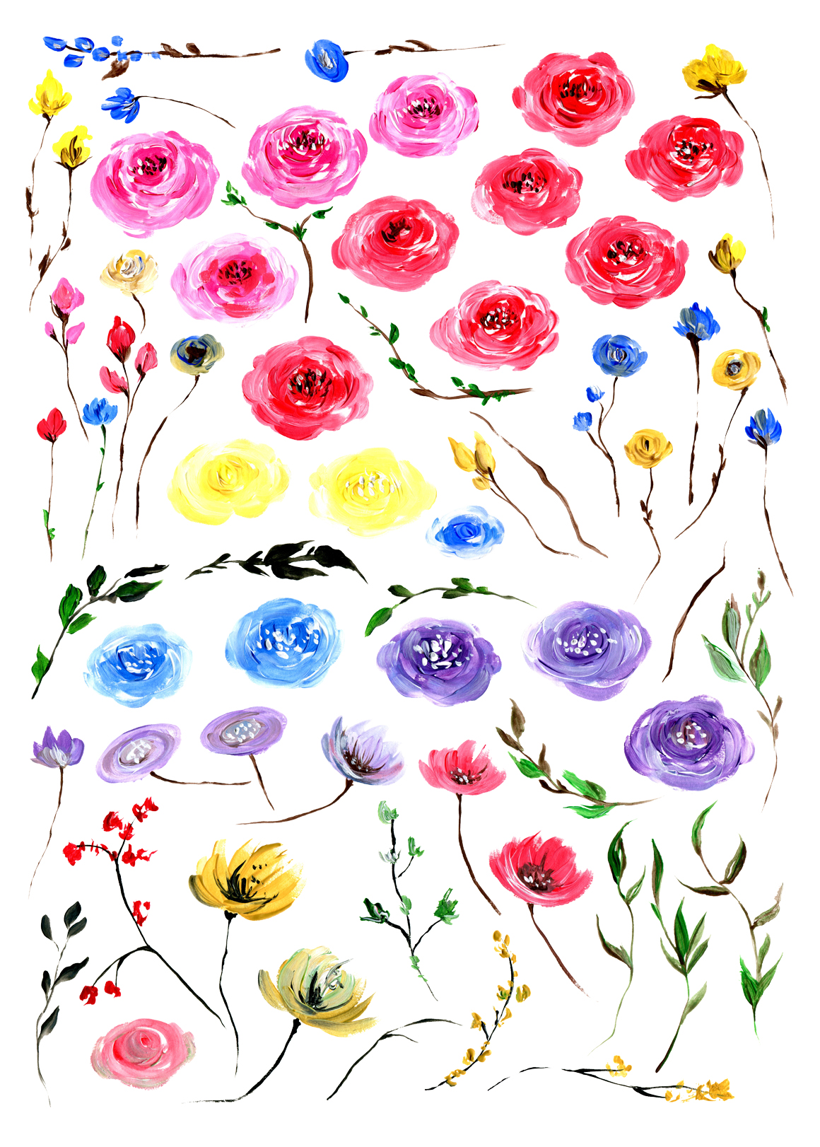 Acrylic floral big set 65 elements example image 2