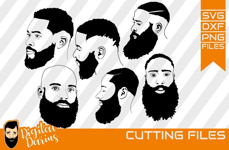 6x Afro Beard Man face SVG, Man svg, hipster beard svg example image 1
