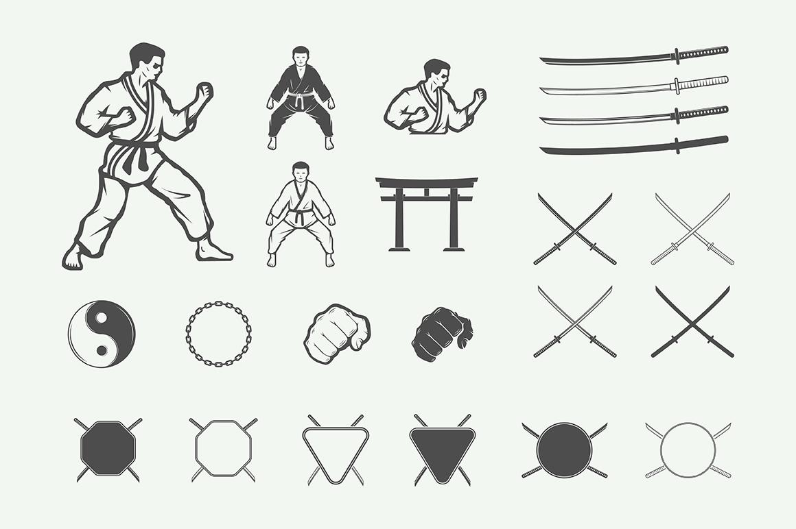Vintage Karate Emblems Bundle example image 2