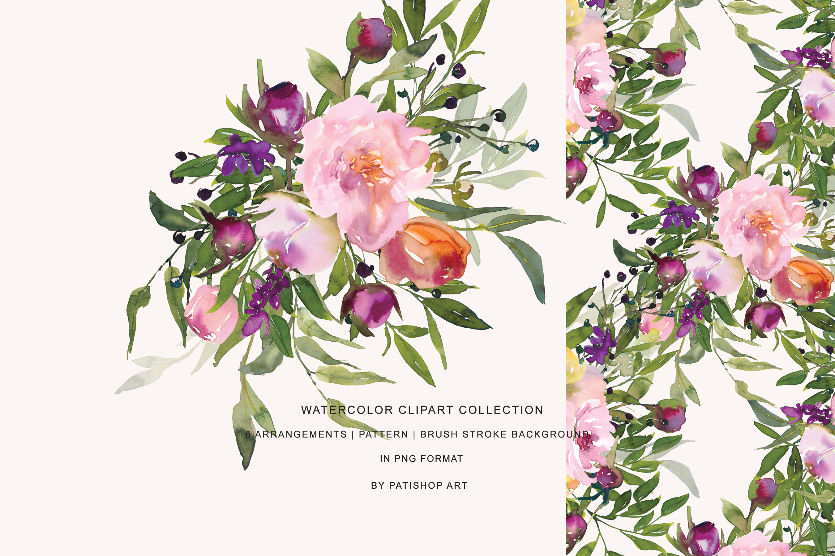 Watercolor Pink Peony Collection example image 6