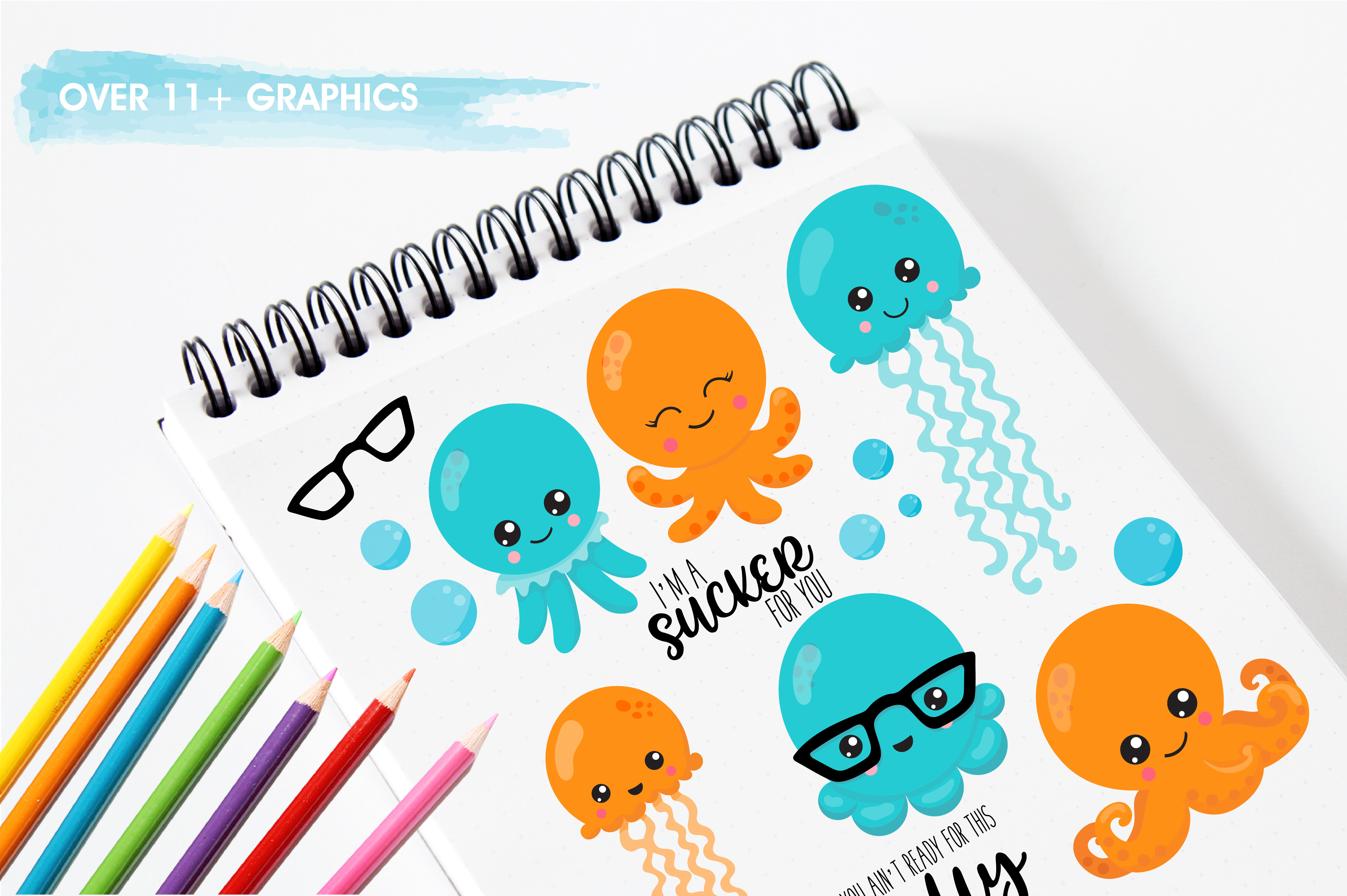 Hipster octopus emoji graphics and illustrations example image 3