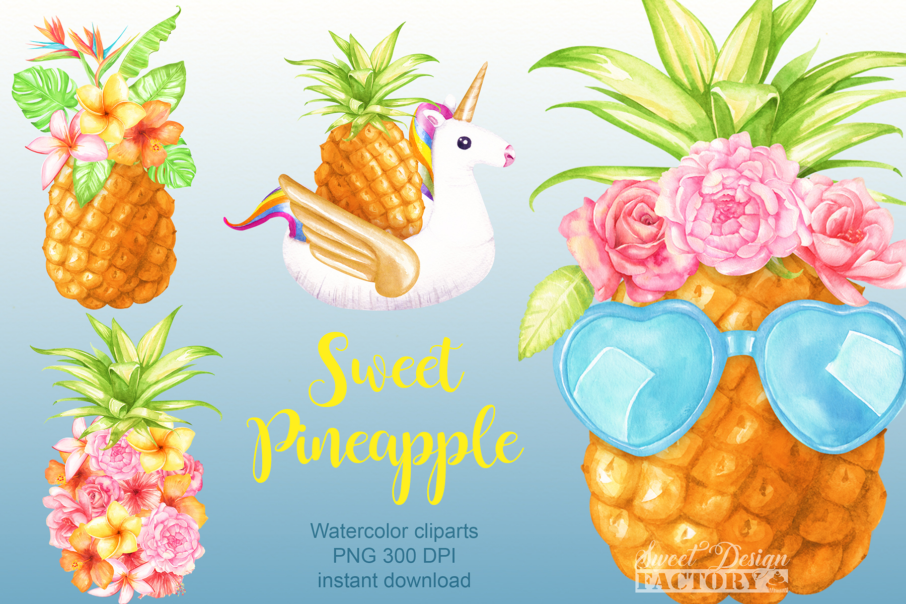 Watercolor pineapple clipart example image 1