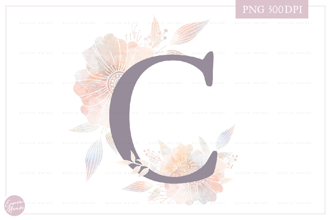 Letter C Floral MONOGRAM - dusty color flower initial example image 1