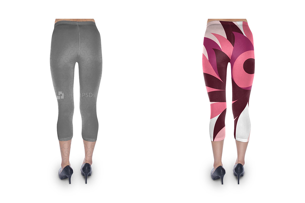 Cropped Legging Design Mockup for Sublimation Cloth Printing - 2 Views example image 2