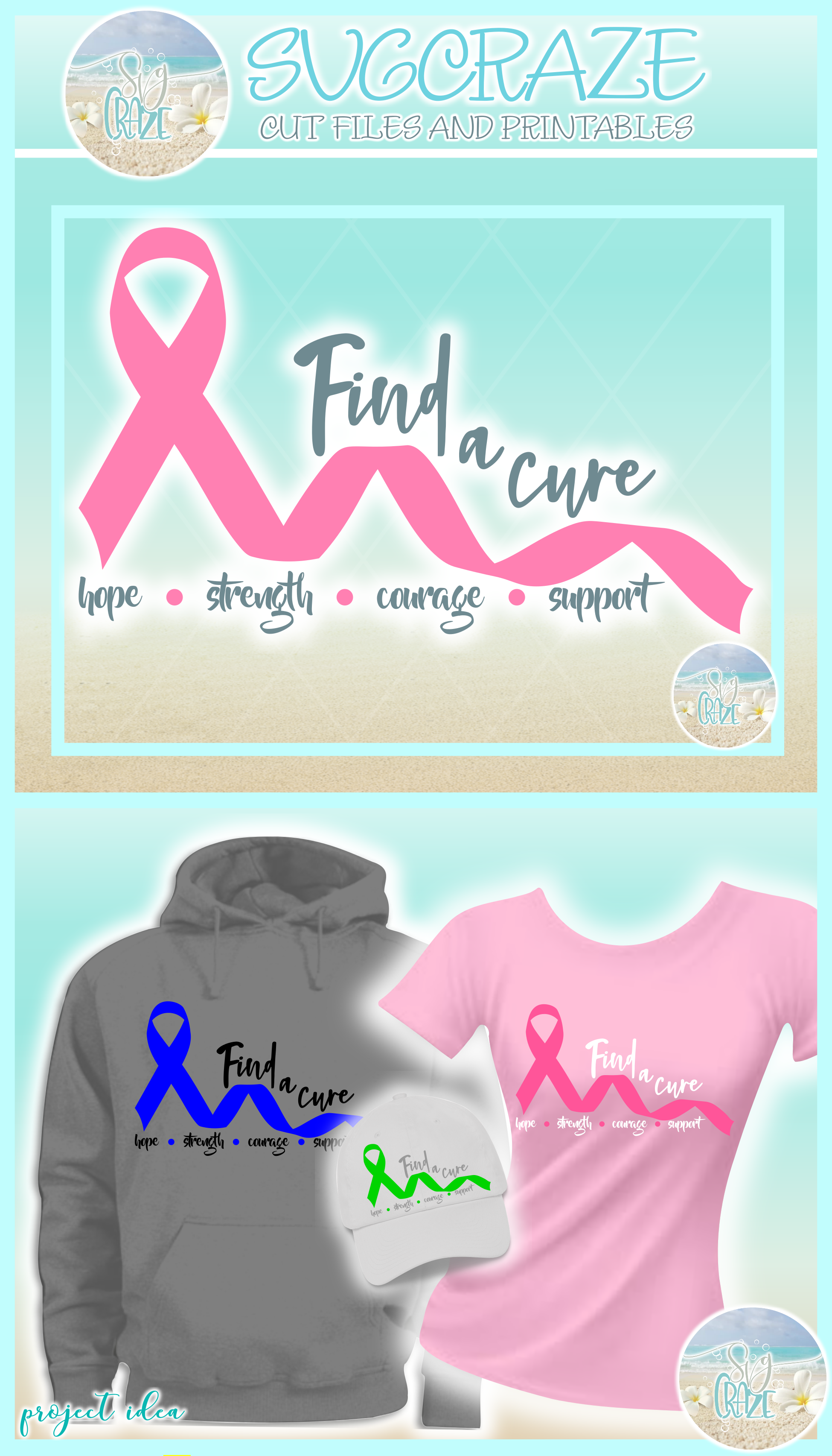 Find A Cure Quote One Color Ribbon SVG Dxf Eps Png PDF Files example image 4
