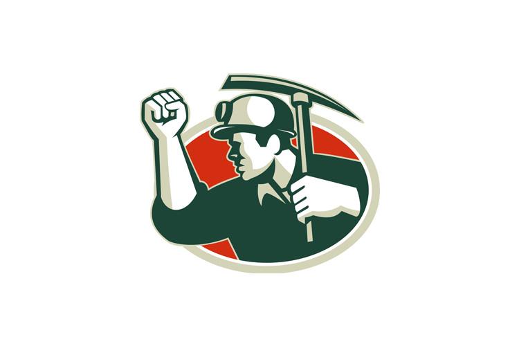 Coal Miner Pump Fist With Pick Ax Retro example image 1