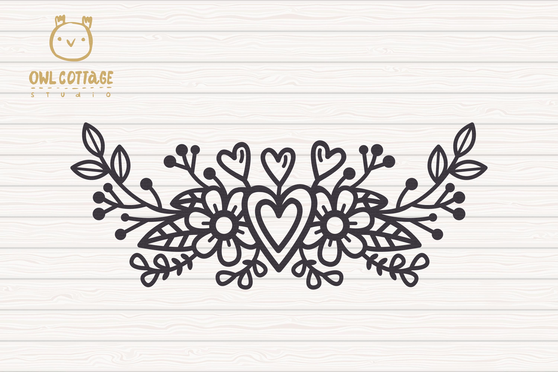 Valentines Floral Monogram cut file, Circle Flowers Wreaths example image 4