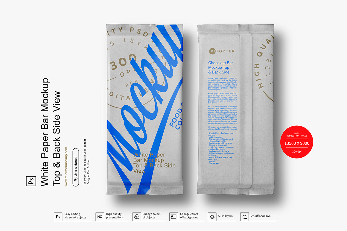 White Paper Bar Mockup Top & Back Side View example image 2