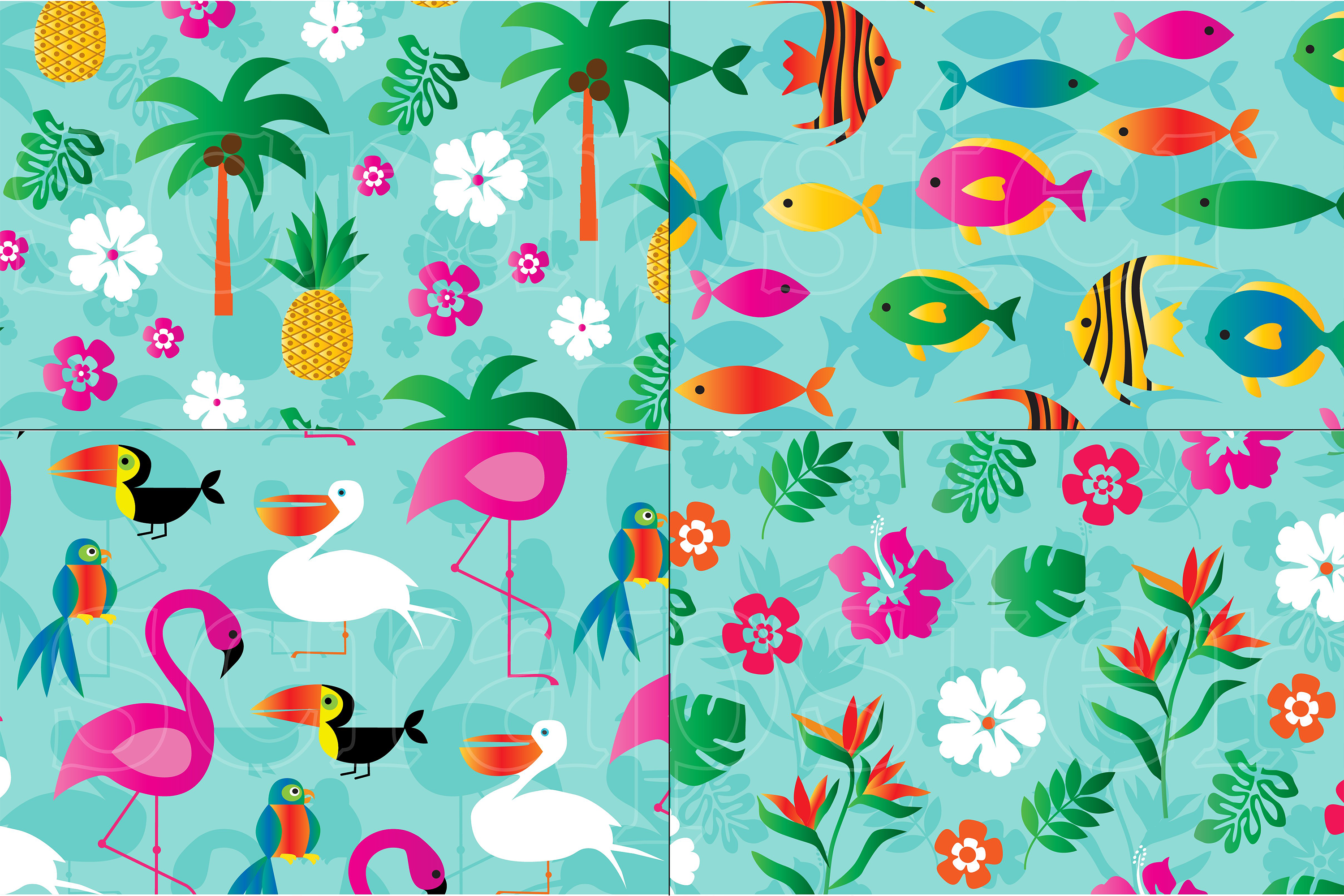 Flamingo & Pineapple Patterns example image 3