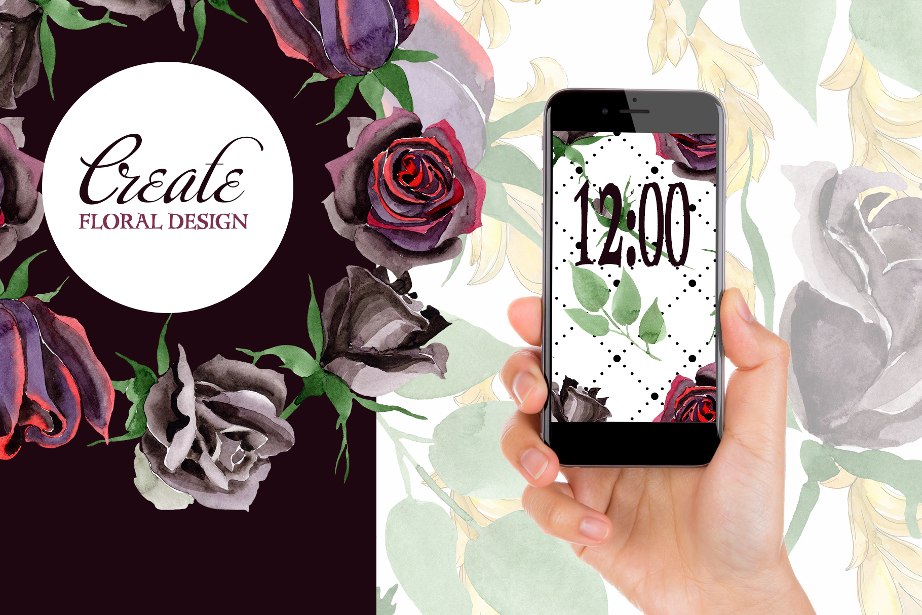 Exclusive black rose watercolor png example image 5