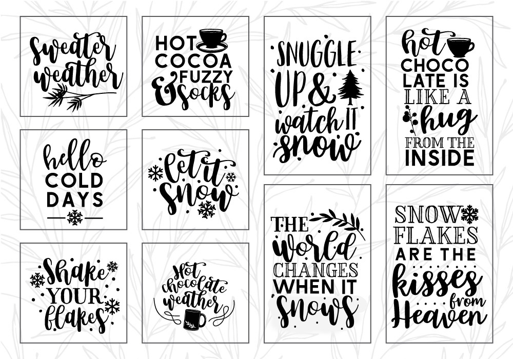 Winter Quote Cut File Bundle example image 2