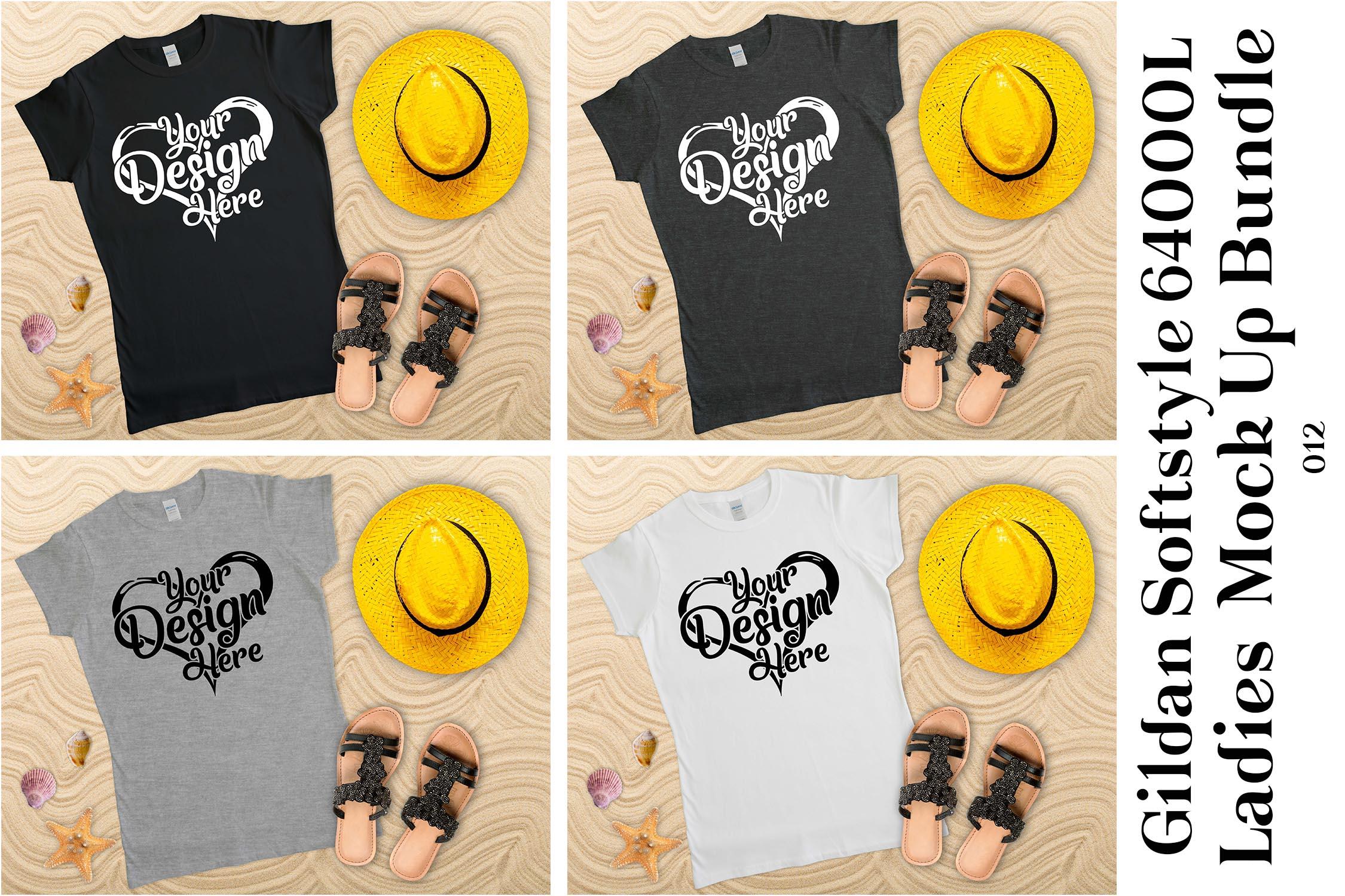 Gildan Ladies T-Shirt Mockup Mega Bundle Flat Lay 64000L example image 9