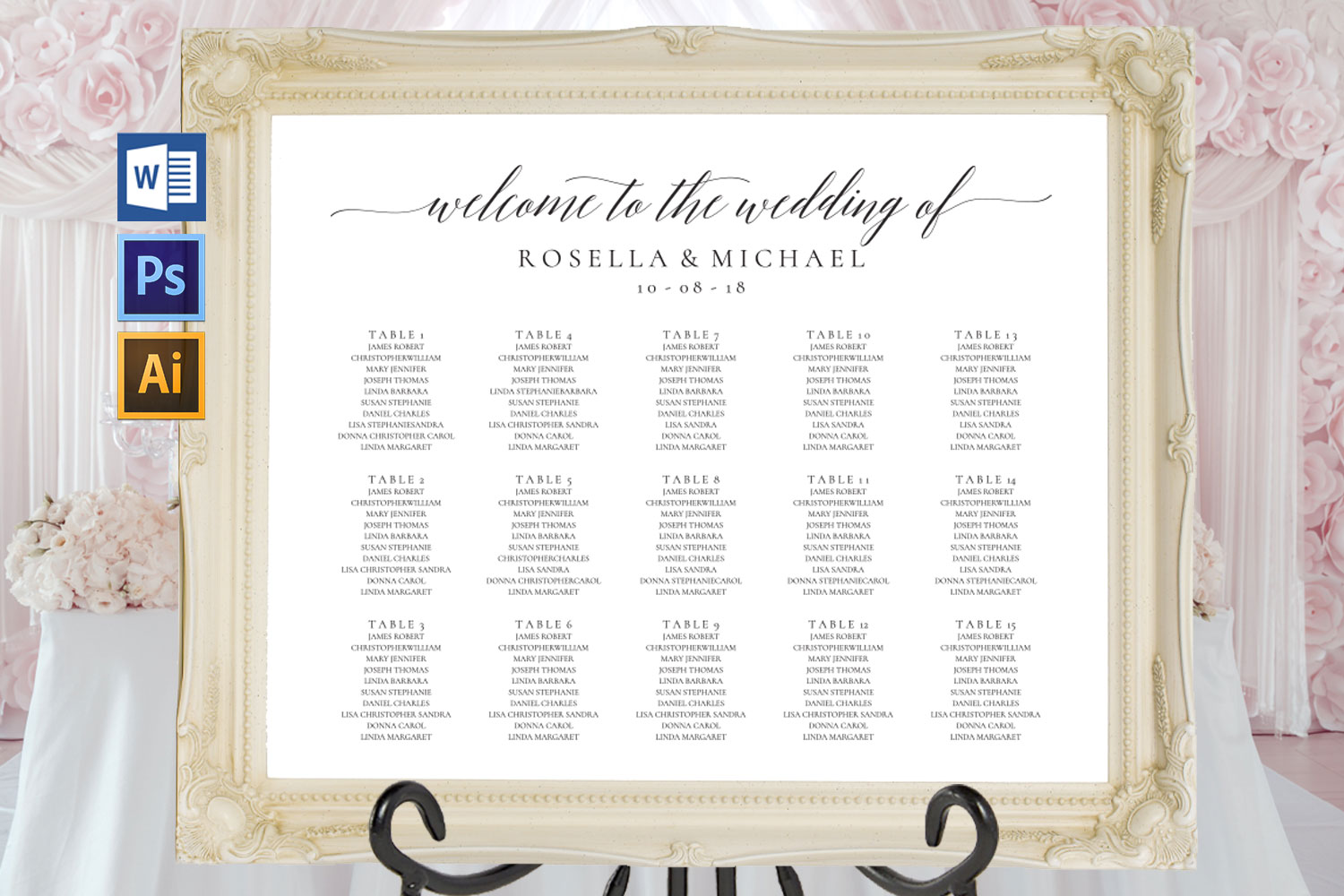 wedding seating chart sign landscape, TOS_15 example image 1