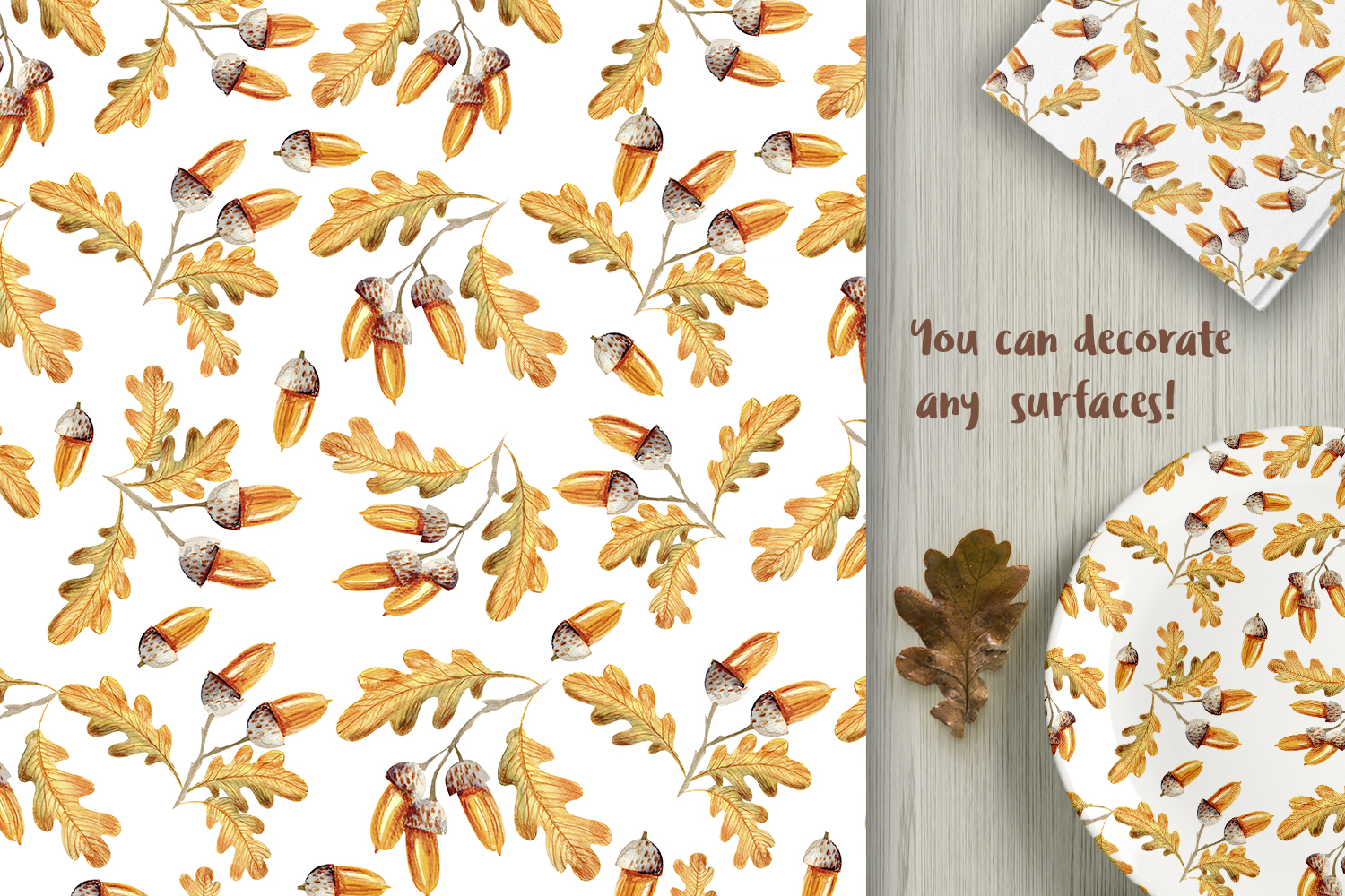 Autumn Watercolor Seamless Patterns Set example image 5