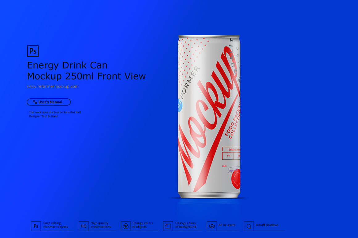 Energy Drink Can Mockup 250ml Front View example image 5