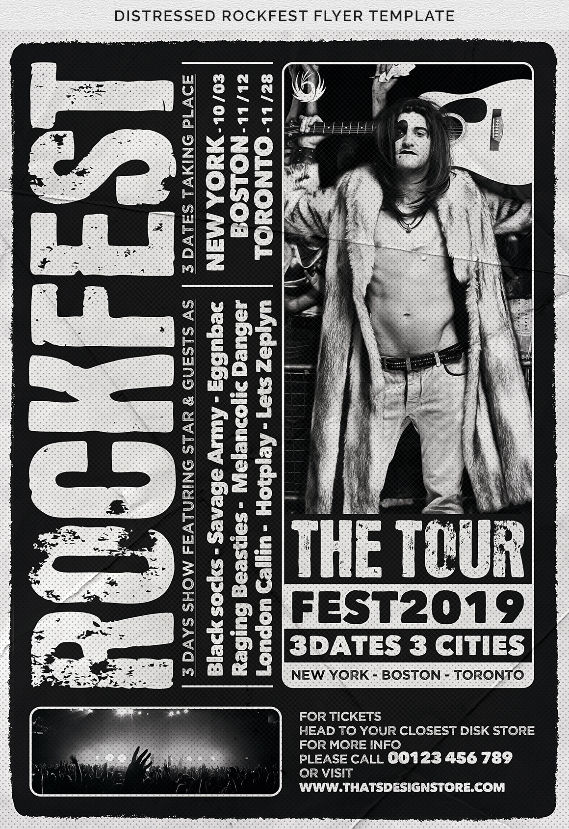 Distressed Rockfest Flyer Template example image 12