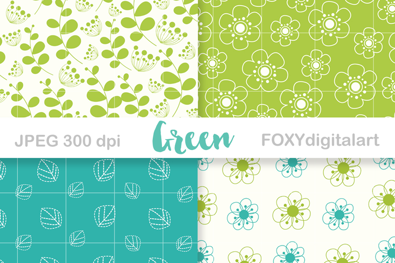 Digital paper floral spring green umbrella retro wedding example image 3