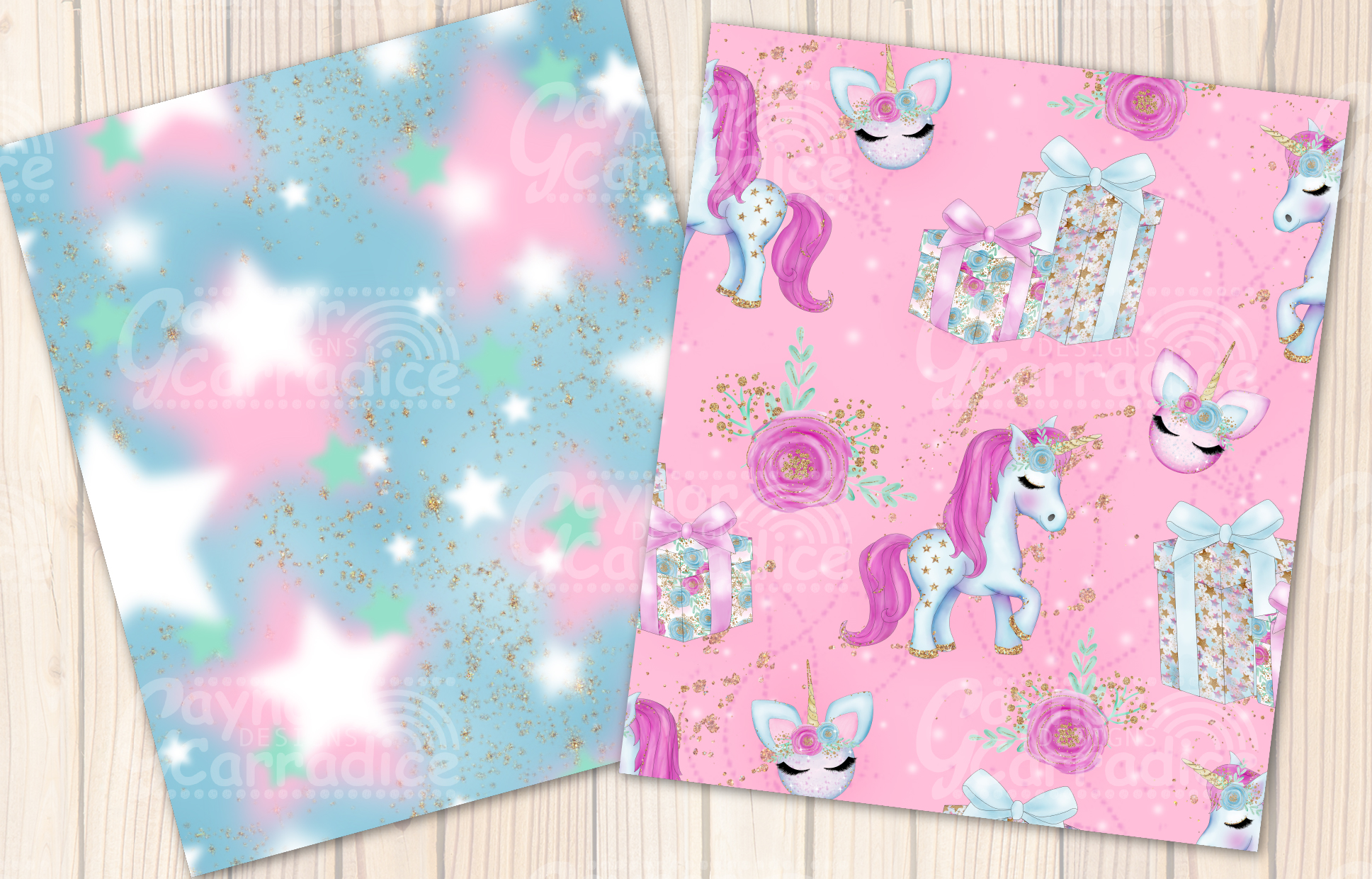 Christmas Unicorn Seamless Pattern collection example image 2