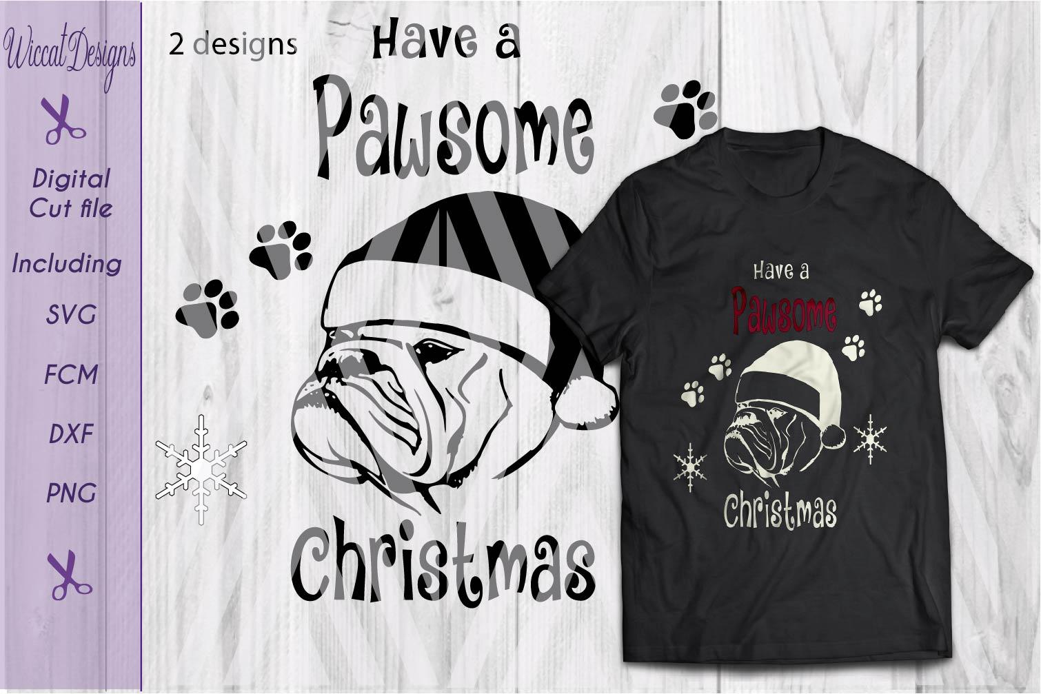 Christmas Bulldog svg, Pawsome svg, santa dog cut file example image 5