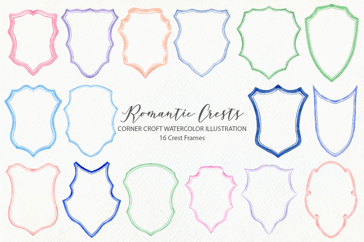 Watercolor Romantic Crest Design Kit example image 4