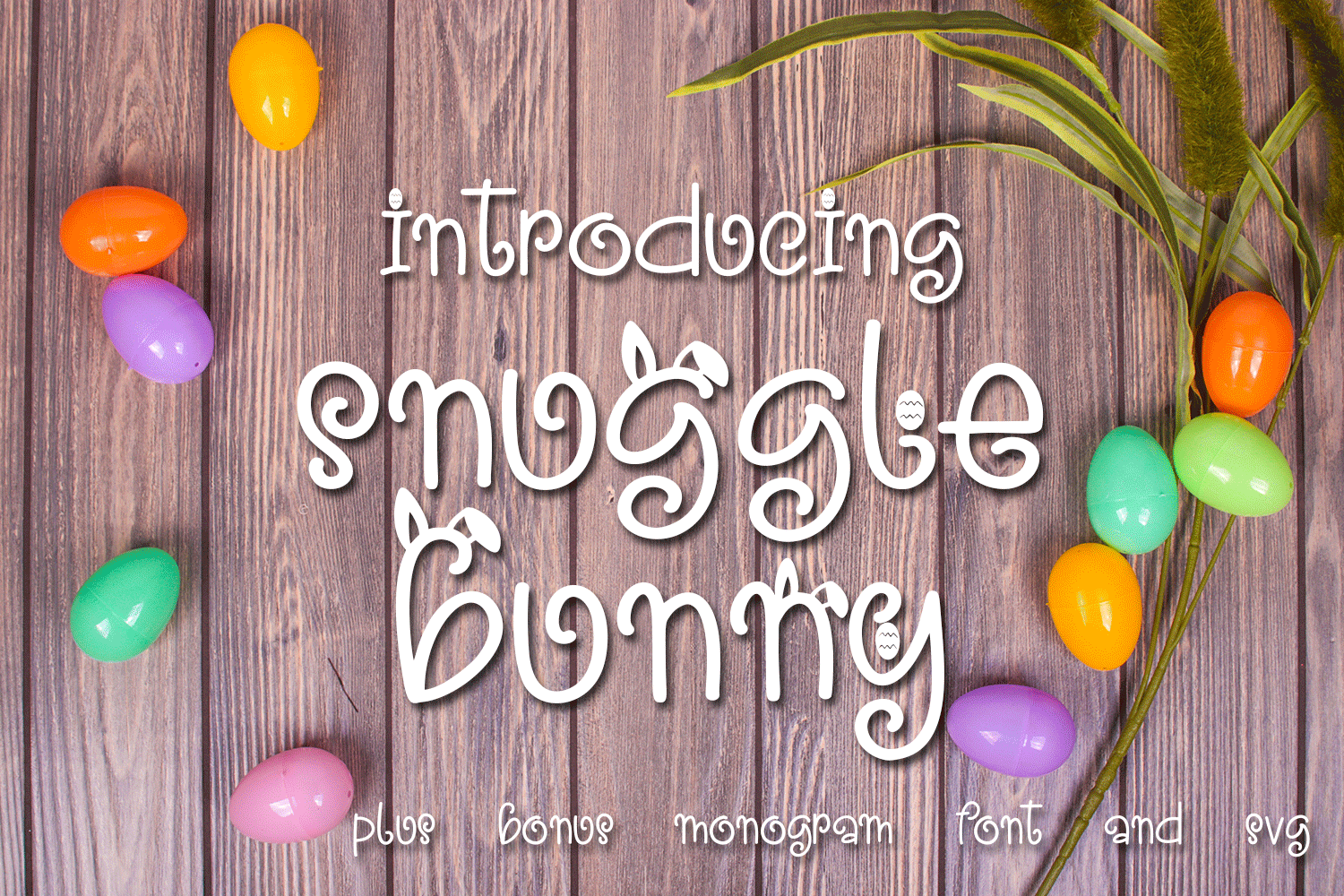 Snuggle Bunny Font Plus Easter Monogram Font and SVG example image 1
