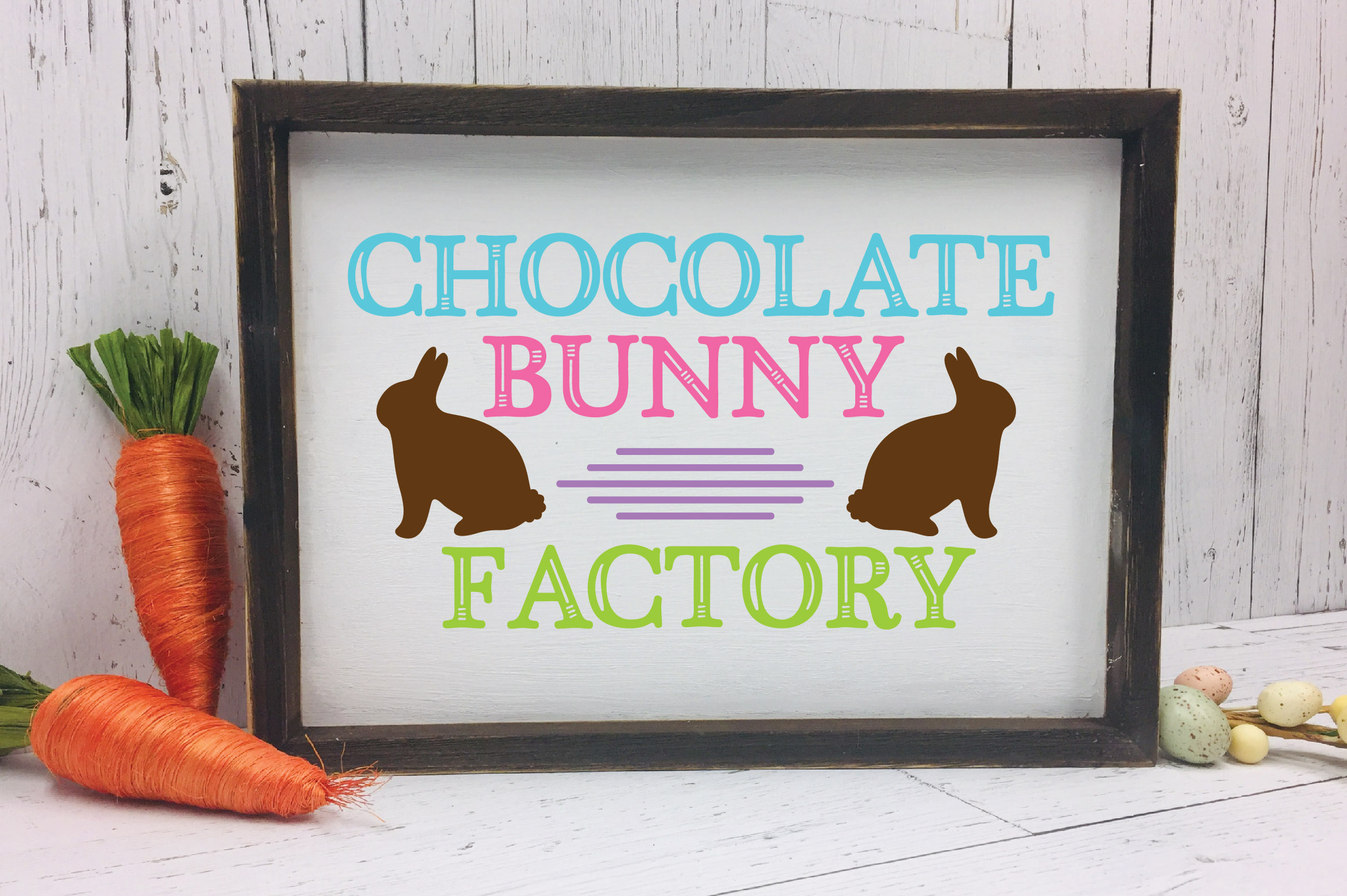 Easter SVG Cut File - Chocolate Bunny Factory SVG DXF EPS example image 2