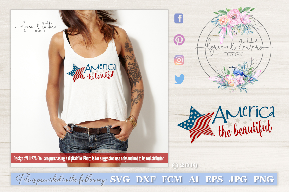 America the Beautiful Patriotic July 4th SVG DXF LL127A example image 1