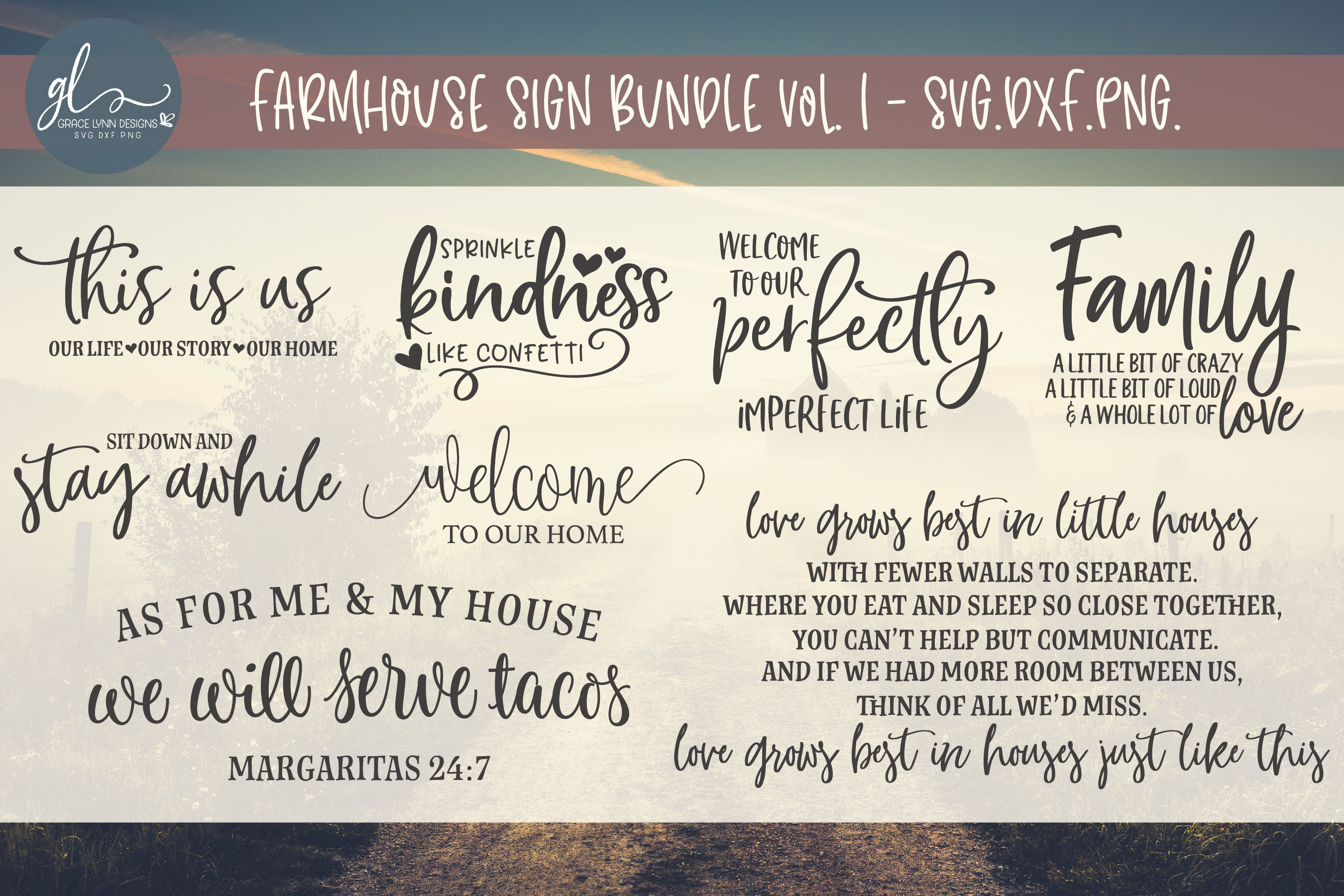 Big Farmhouse Quotes Bundle - 40 Designs - SVG, DXF & PNG example image 2