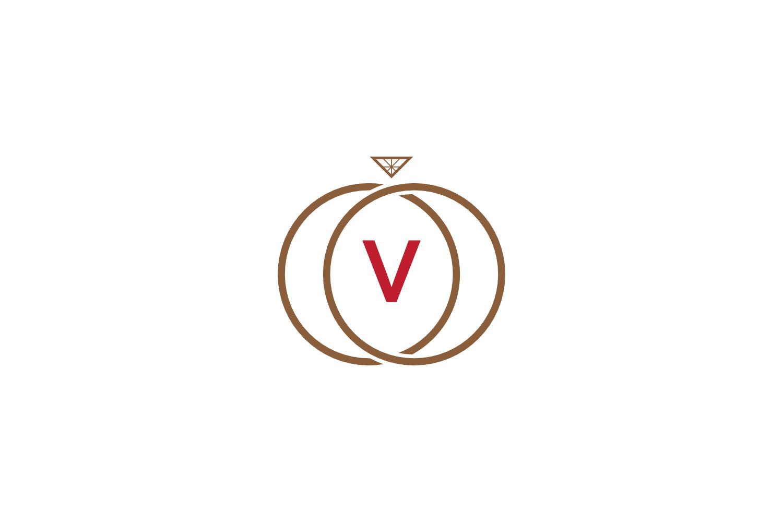 v letter ring diamond logo example image 1