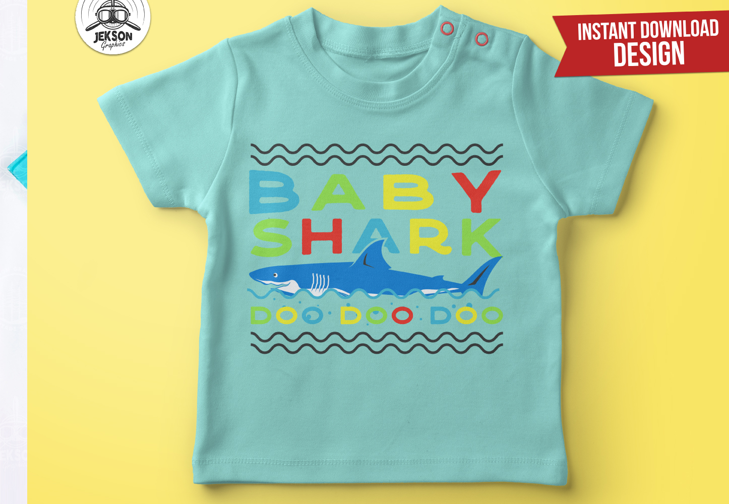 Retro Daddy Shark Print / Fathers Day T-Shirt, Family SVG example image 6