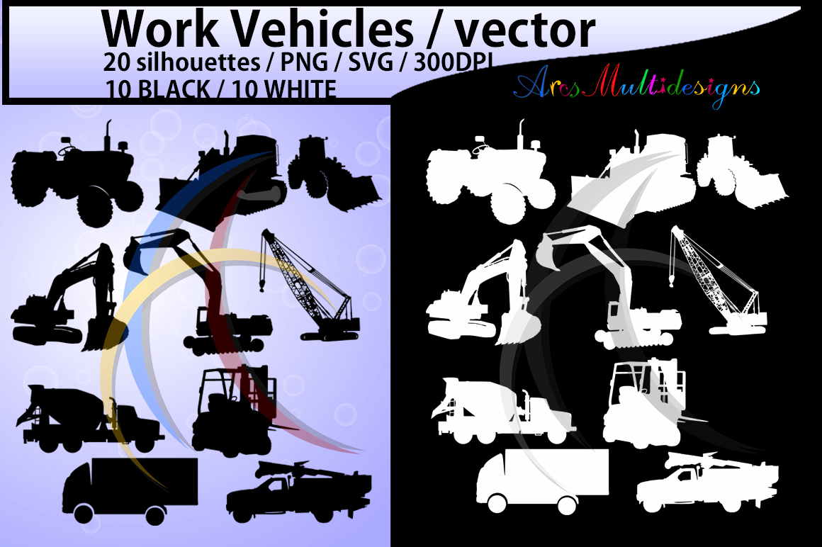 work vehicle / work vehicles silhouette / SVG file / Construction Machines Silhouettes / printable vehicle silhouette / vector EPS example image 1