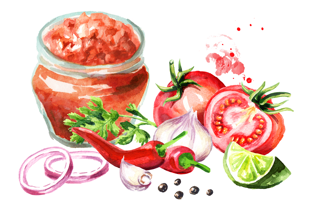 Salsa sauce. Watercolor collection example image 3