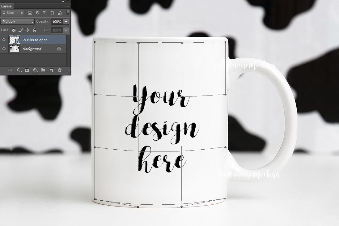 11oz White Coffee Mug Mockup animal print background example image 4