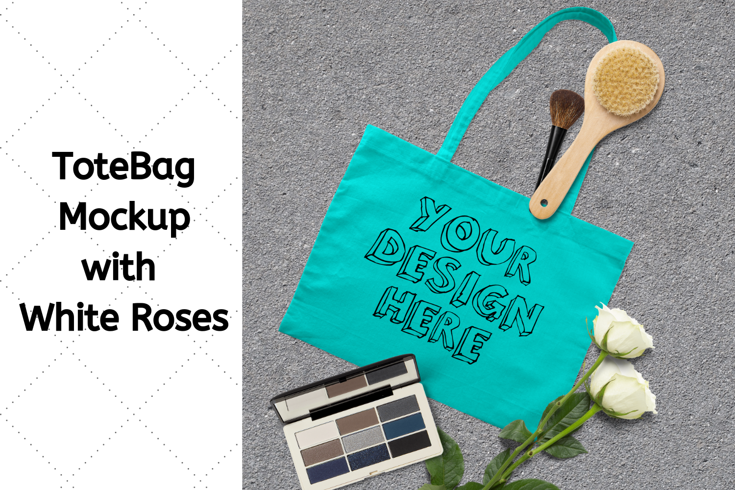 Tote Bag Mockup with White Roses, Makeup Brush, Cosmetic Kit example image 1