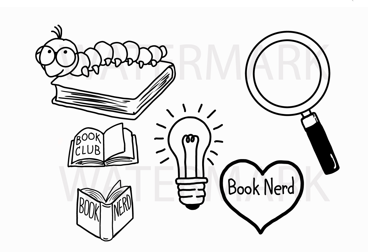 Book Worm and Book Lover Set - SVG/JPG/PNG Hand Drawing example image 1