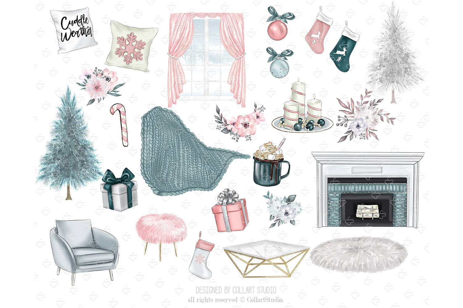 Christmas home decoration clipart, Fashion Christmas Planner example image 5