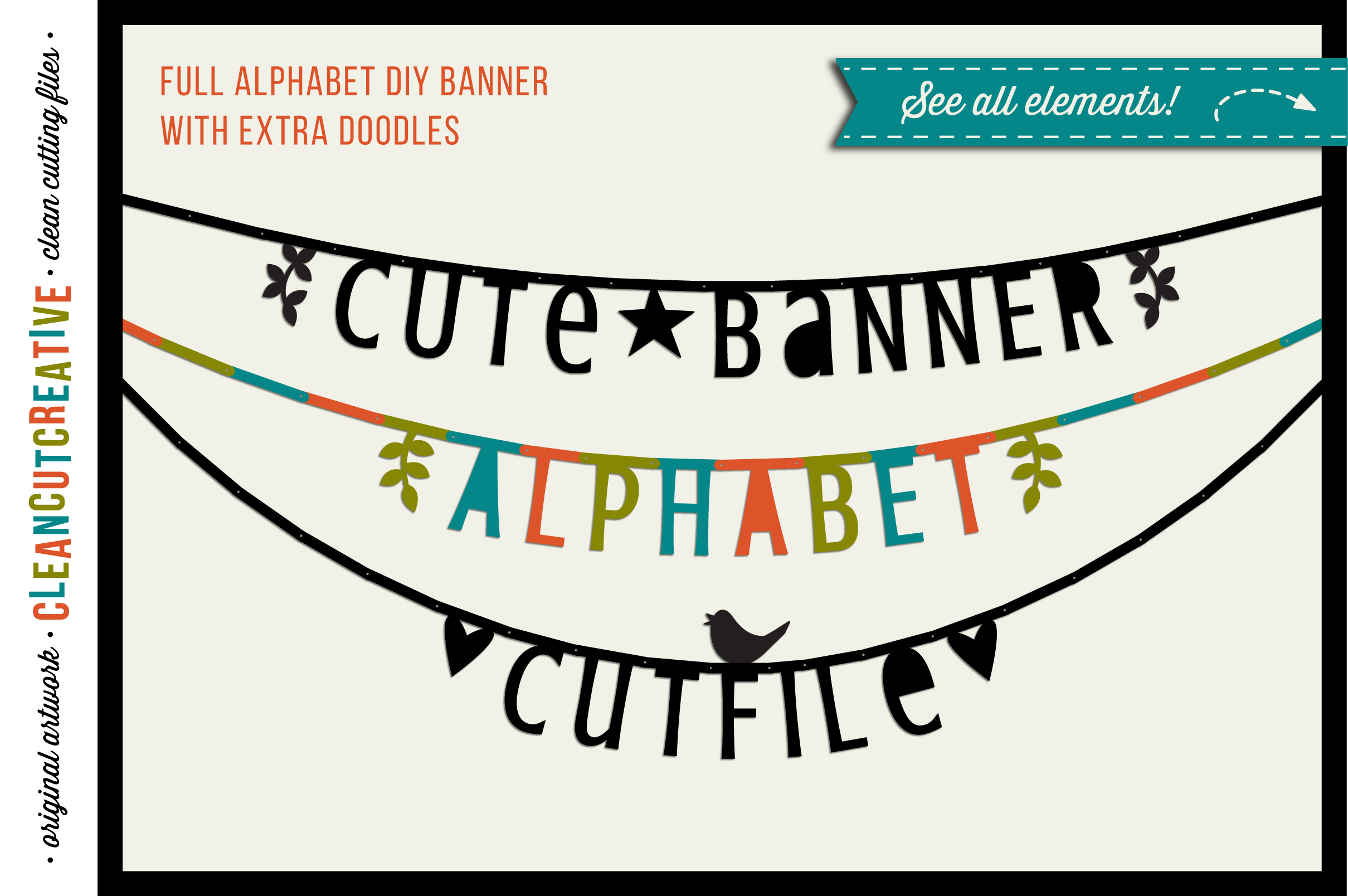 Cute Banner Alphabet - bunting garland alphabet letter banner - SVGDXF EPS - Silhouette & Cricut - clean cutting files example image 1