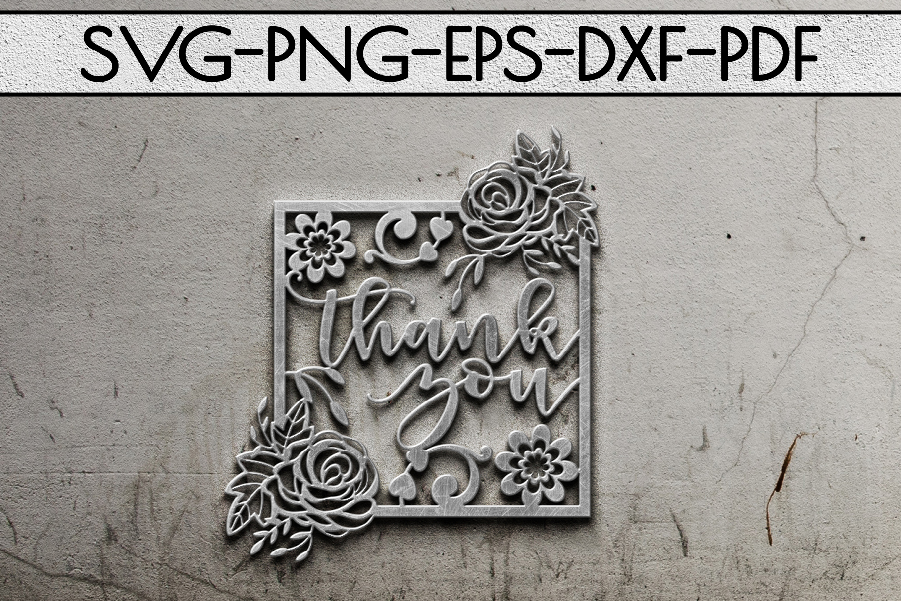 Thank You 5 Papercut Template, Appreciation Frame SVG, PDF example image 2